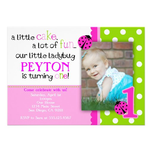 Ladybug Birthday Invitation Hot Pink Lime green