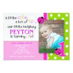 "Ladybug Birthday Invitation Hot Pink Lime green 5"" X 7"" Invitation Card"