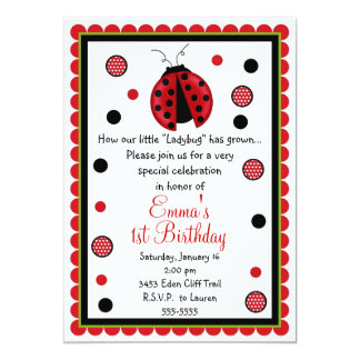 Ladybug 1st Birthday Invitations Announcements Zazzle