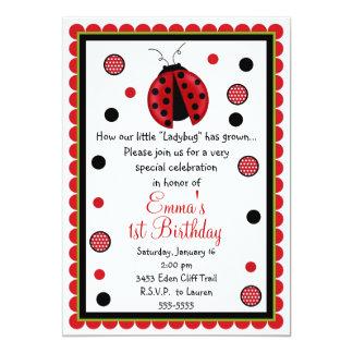 "Ladybug Birthday Invitations 5"" X 7"" Invitation Card"