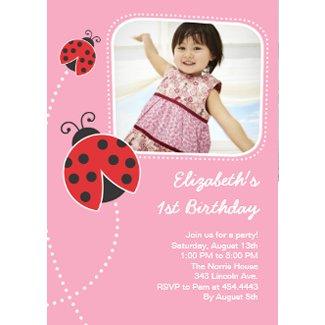 Ladybug Birthday Invitations Pink Photo Card invitation