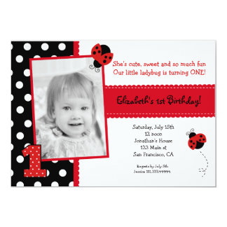 Ladybug BIrthday Party Invitations