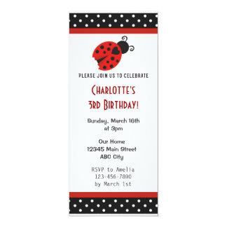 Ladybug Birthday Party Invite Red Black Polka Dots