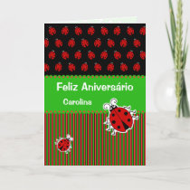 Ladybug birthday portuguese custom text card
