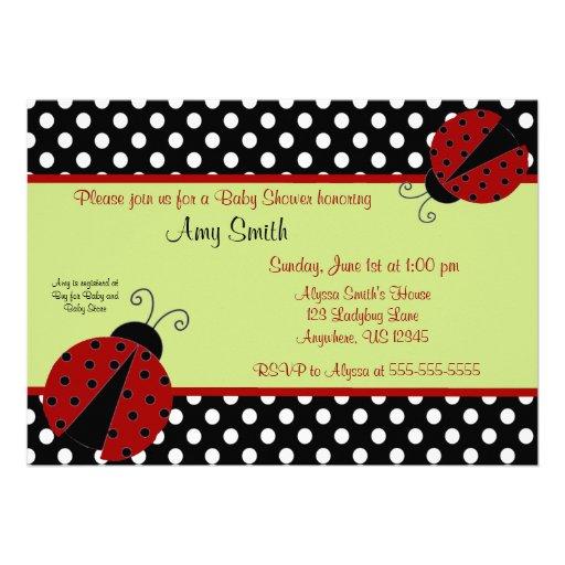 Ladybug Black Dot Baby or Bridal Shower Invitation