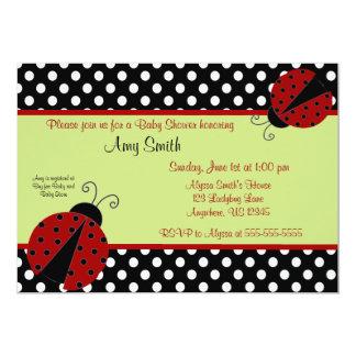 "Ladybug Black Dot Baby or Bridal Shower Invitation 5"" X 7"" Invitation Card"