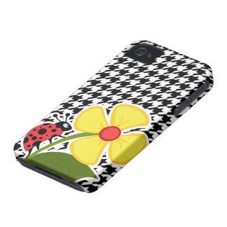 Ladybug; Black & White Houndstooth Case-Mate iPhone 4 Cases