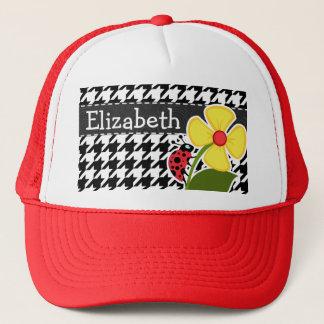 Ladybug; Black & White Houndstooth Trucker Hat
