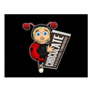 Ladybug-Boy-and-Chocolate Postcard