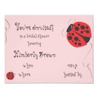 "Ladybug bridal shower or birthday party invitation 4.25"" x 5.5"" invitation card"