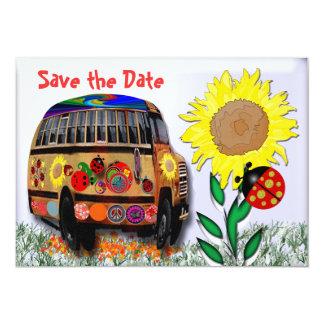 Ladybug Bus 5x7 Paper Invitation Card