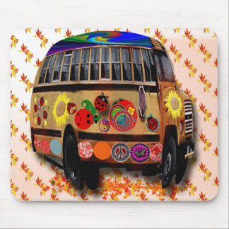 Ladybug bus and autumn leaves mouse pad