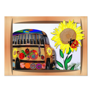 Ladybug Bus and Sunflower 5x7 Paper Invitation Card