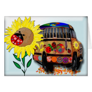 Ladybug Bus Birthday Greeting Card