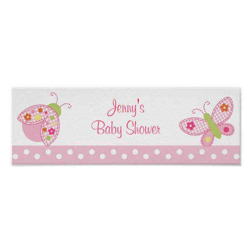 Ladybug Butterfly Baby Shower Banner Sign Poster