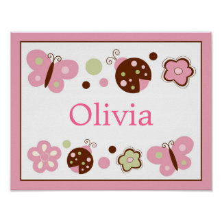 Ladybug Butterfly Nursery Wall Art Name Print