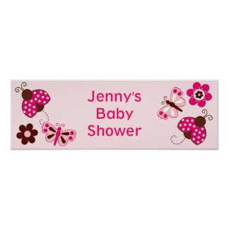 Ladybug Butterfly Personalized Baby Shower Banner Print