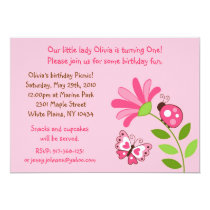 Ladybug Butterfly Picnic Birthday Invitations