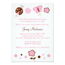 Ladybug Butterfly Pink Baby Shower Invitation