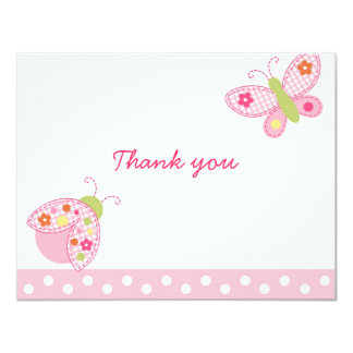 """Ladybug Butterfly Thank You Note Cards 4.25"""" X 5.5"""" Invitation Card"""