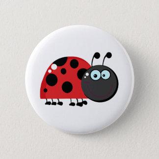 Ladybug Cartoon Character Pinback Button