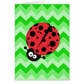 Ladybug Cartoon on Green Zigzag Card