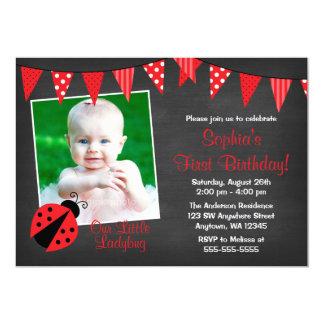 Ladybug Chalkboard Photo Birthday Card