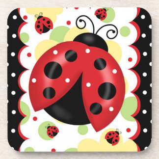 Ladybug Coaster With Cork Back