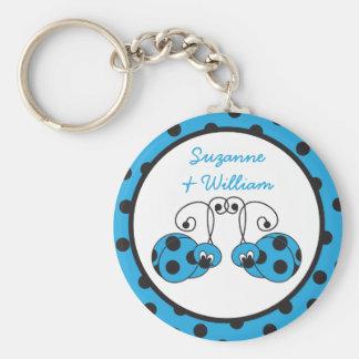 Ladybug Couple Blue Keychain