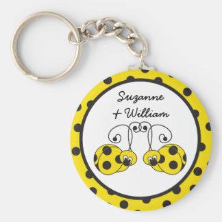 Ladybug Couple Yellow Keychain