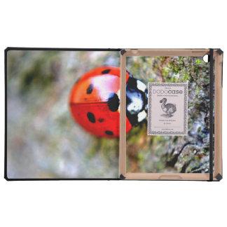 Ladybug Crawling on Tree Trunk Cases For iPad