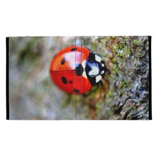 Ladybug Crawling on Tree Trunk iPad Folio Cases