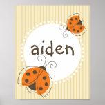 Ladybug Custom Name Kid Poster