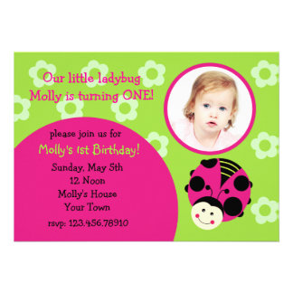 Ladybug Custom Photo Birthday Party Invitations