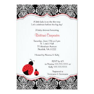 Ladybug Damask Baby Shower   Birthday Party invite