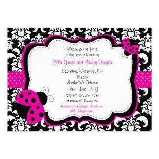 Ladybug Damask Baby Shower Invitations