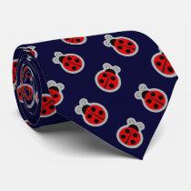 Ladybug Dark Navy Blue Background Tie
