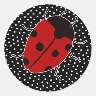 Ladybug Dot Stationary Classic Round Sticker