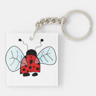 Ladybug Double-Sided Square Acrylic Keychain