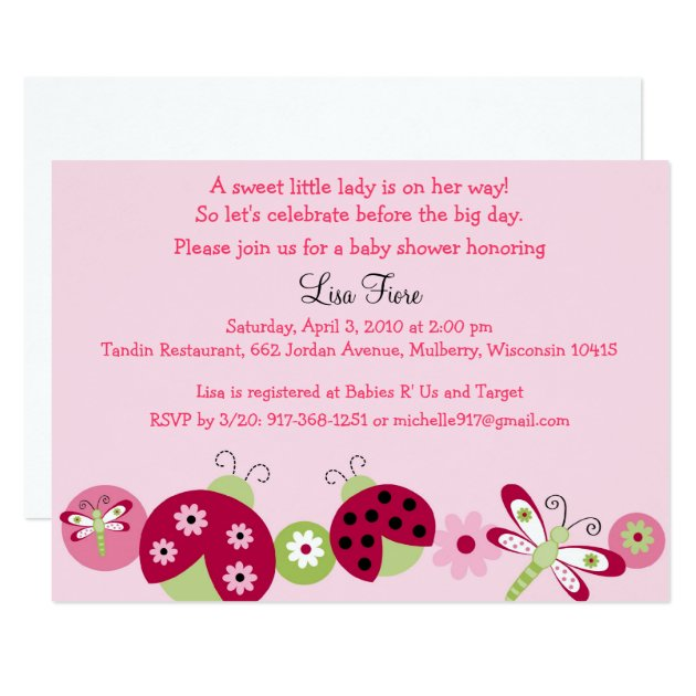 Ladybug Dragonfly Baby Shower Invitations Zazzle
