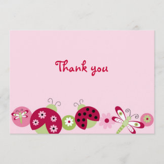 Ladybug Dragonfly Thank You Note Cards