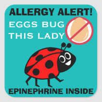 Ladybug Egg Allergy Alert Epinephrine Inside Square Sticker