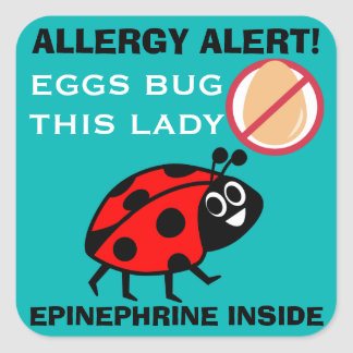Ladybug Egg Allergy Alert Epinephrine Inside Square Sticker