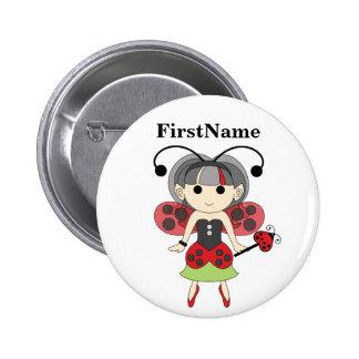 Ladybug Fairy Add Kids Name Fairies Pinback Button