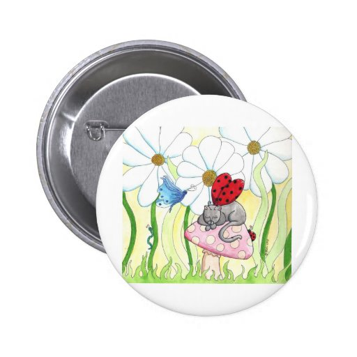 Ladybug Fairy Cat 2 Inch Round Button