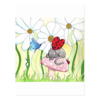 Ladybug Fairy Cat Post Card