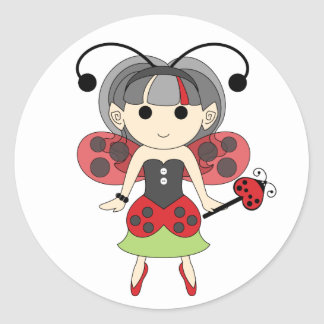 Ladybug Fairy Cute Red Bug Fairies Circle Stickers