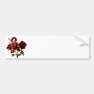 Ladybug Fairy on Red Roses Bumper Sticker