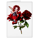 Ladybug Fairy on Red Roses Greeting Card