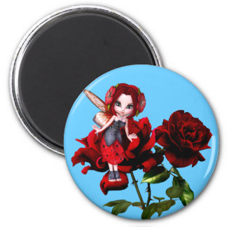 Ladybug Fairy on Red Roses Magnet